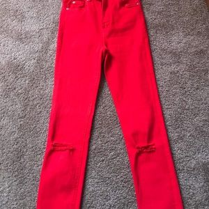 New Zara red stretch red jeans.
